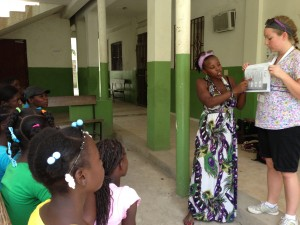 Translator Edia helps nurse Andrea teach puberty facts