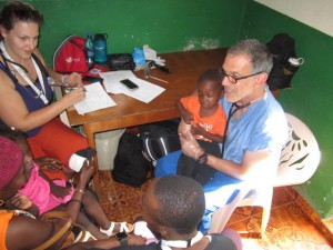 Dr. Barsh working in rural Haiti.