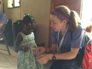 Volunteer Lauren Burnette on her first day at clinic.