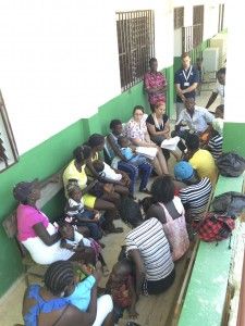 HUFH volunteer epidemiologist Lisa and translator Franz leading a focus group on nutrition in Bod me Limbe