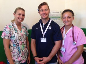Medical Student, Jonathon Lis with two of our nursing students. Keagan Tinney and Alyssa Piparo