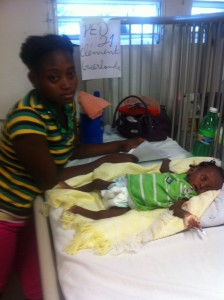 Celestine and Wisely in the hospital.