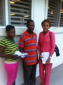 Dr. Dieula Toussaint with the parents.